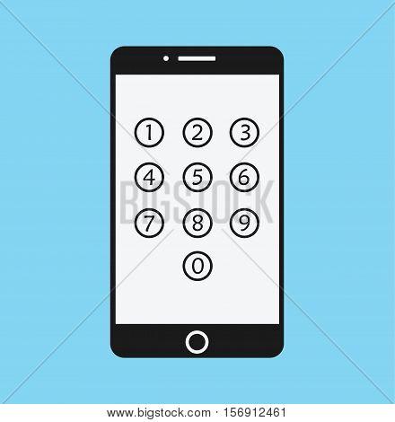 Phone Lock Cartoon - Smartphone Numeric Passcode Screen Flat Vector Illustration Stock
