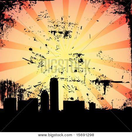 Grungy city scene with hot summer sun