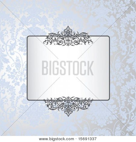 Antique wallpaper with scroll detail and copy-space