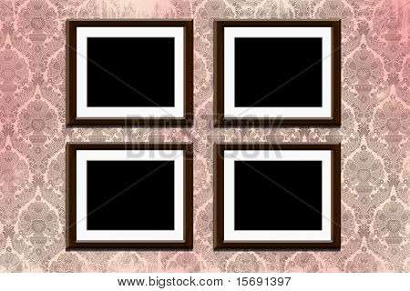 Wood frames on grungy old victorian wallpaper