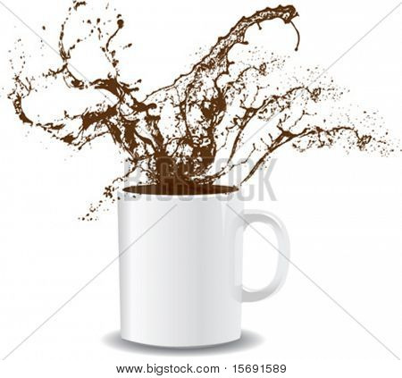 Vector illustration of coffee splashing out of a mug