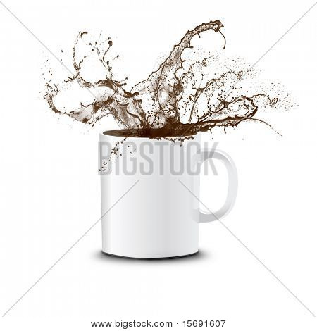 Coffee splashing out of a white cup