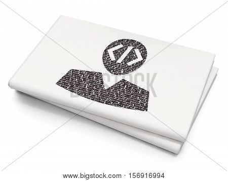 Database concept: Pixelated black Programmer icon on Blank Newspaper background, 3D rendering