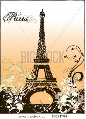 Vector Eiffel Tower with flourishes