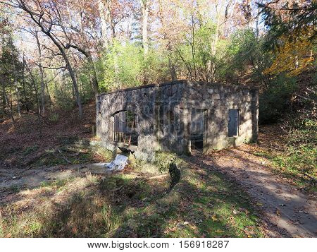Ruins of the Fieldstone House at Paradise Springs in the southern unit of Kettle Moraine Forest, Wisconsin