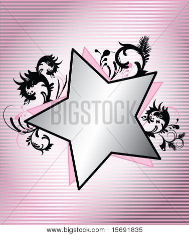 Pink stripes and stars with floral swirly detail