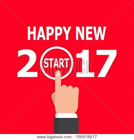 Happy new year conceptual greeting card, vector illustration on red background. 2017 happy new year. New year 2017 card design. Start new year 2017 idea.