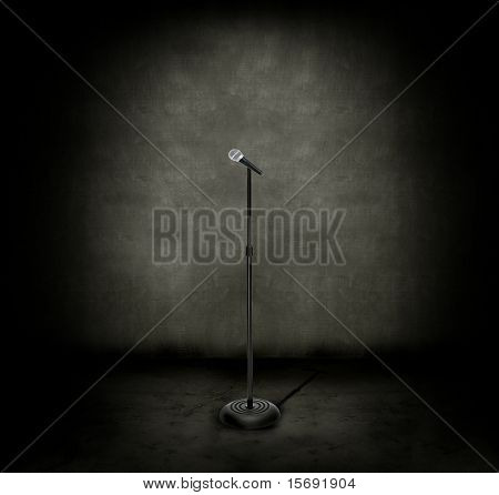 Microphone in a dark, grungy room