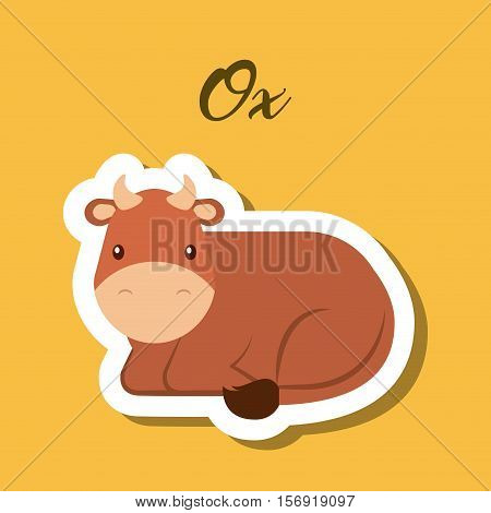 cute ox animal sticker over pink background. vector illustration