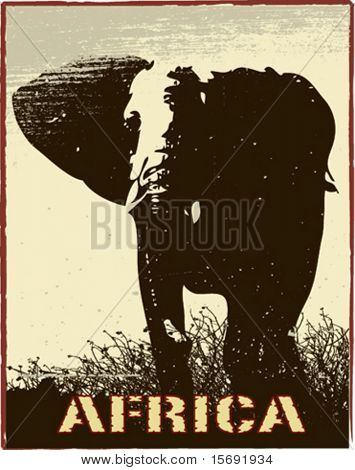 Africa image with elephant silhouette