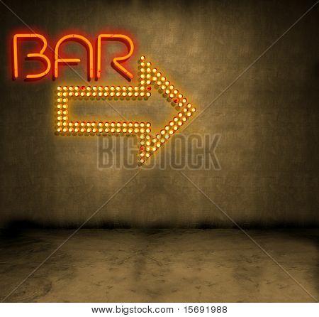 Bar Anzeichen auf eine grunge Betonwand in einer dunklen Gasse