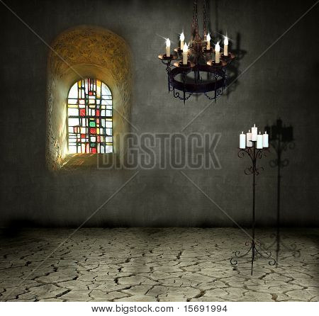 Dark old room with stained glass window and candelabra