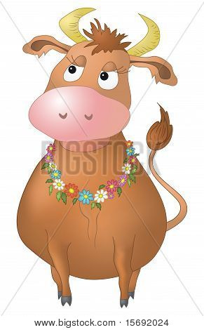 Cow with flowers