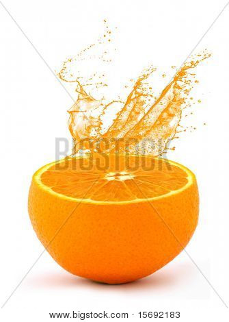 Juice squirting from an orange