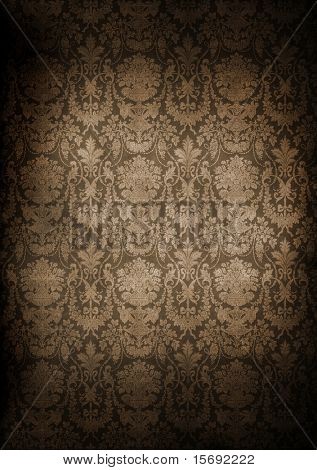 Dark, grungy wall with Victorian wallpaper