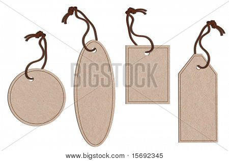 A collection of different shaped tags with twine, isolated on white