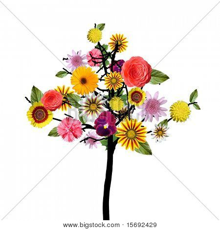 Abstract colorful floral tree isolated on white