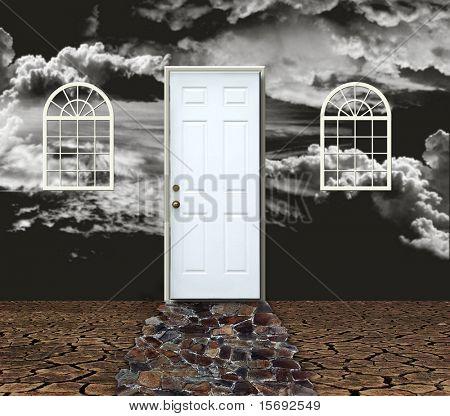 Concepto de una casa en una desolada visión negativa oscura