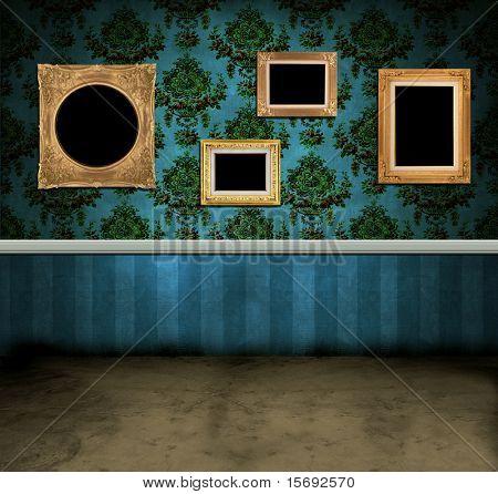 Marcos vacíos colgada en la pared de un cuarto oscuro de la vendimia