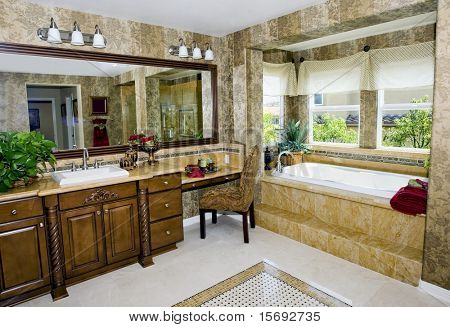 Elegant upscale bathroom with granite countertops