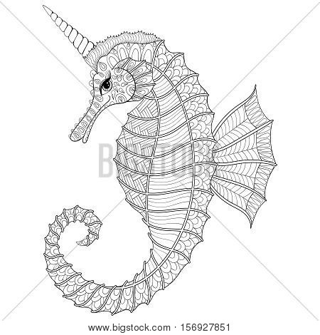 Zentangle stylized black Sea Horse like Unicorn. Hand Drawn vector illustration for adult coloring books, isolated on white background. Sketch for tattoo or makhenda. Sea collection.