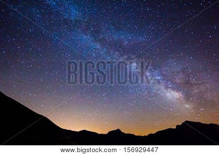 Mountain landscape with Milky Way. Night sky with stars in the Monti Sibillini national park.