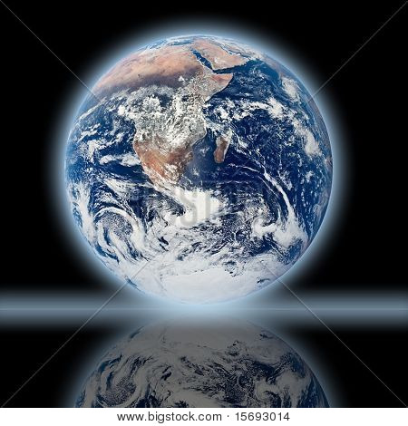 Background image of Earth reflection of itself