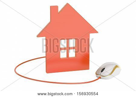 computer mouse connected to house home control concept or real-estate concept. 3D rendering