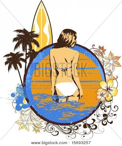 Grunge surf graphic with a girl in a bikini in the ocean