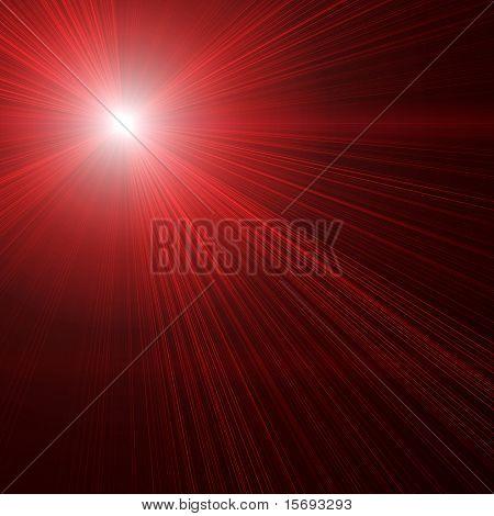 Red laser beams on black