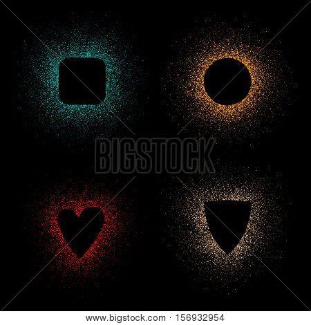 Color Spray frames stencils on a black background. Vector illustration.