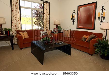 Modern comfortable living room in warm hues