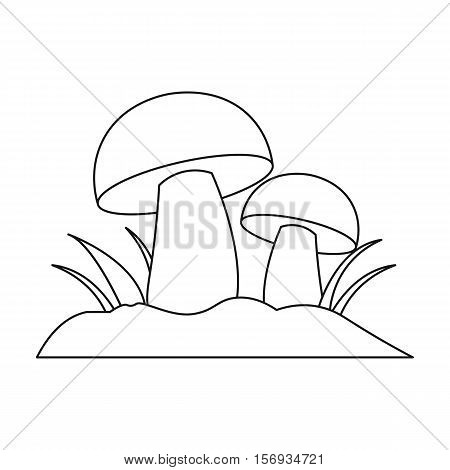 Mushroom icon in outline style isolated on white background. Plant symbol vector illustration.