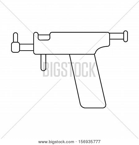 Ear piercing gun icon in outline style isolated on white background. Tattoo symbol vector illustration.