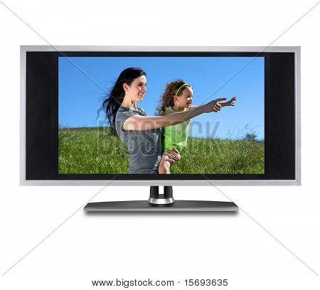 Flat screen tv isolated with an image of a mother and daughter in a grassy meadow