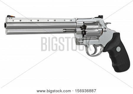 Revolver firearm gun chrome cowboy western. 3D illustration