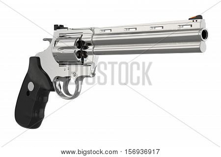 Revolver handgun chrome cowboy equipment. 3D illustration