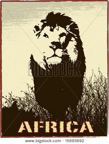 Imagen de África con la silueta del León - vector