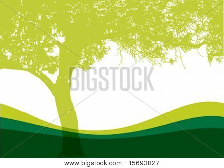 Vector tree on a grassy hill