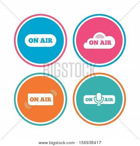 On air icons. Live stream signs. Microphone symbol. Colored circle buttons. Vector