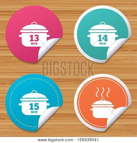 Round stickers or website banners. Cooking pan icons. Boil 13, 14 and 15 minutes signs. Stew food symbol. Circle badges with bended corner. Vector