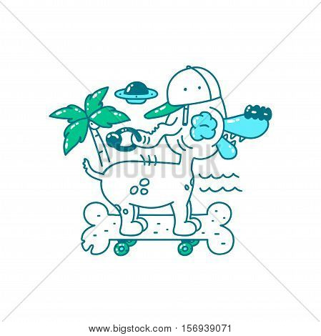Youth T-shirt print design. Cool Dog in hat on skateboard bone rides on the beach. palm tree ufo and sea. Vector doodle illustration for t-shirt isolated on white background