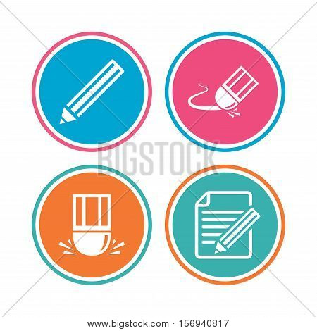 Pencil icon. Edit document file. Eraser sign. Correct drawing symbol. Colored circle buttons. Vector