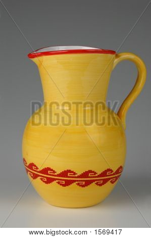 Ceramic Jug In Yellow And Red