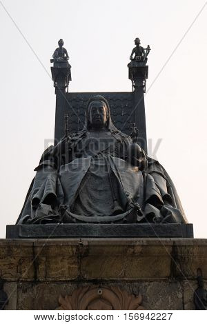KOLKATA, INDIA - FEBRUARY 08: Statue of Queen Victoria in front of the Victoria Memorial  in Kolkata on February 08, 2016.