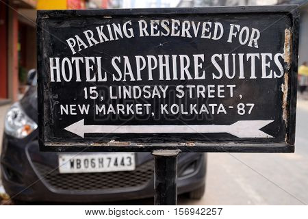 KOLKATA, INDIA - FEBRUARY 08: Parking banner of the hotel Sapphire Suites on New Market in Kolkata, India on February 08, 2016.