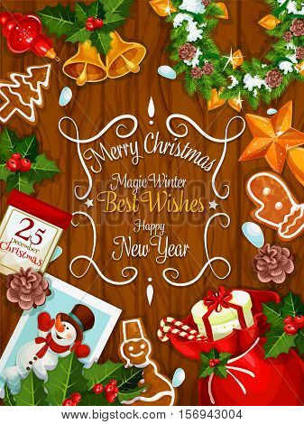 Merry Christmas and Best Wishes congratulation poster. New Year greeting card with traditional symbols of christmas celebration. Vector Santa gift bag, gingerbread biscuits, stars, balls, bells, christmas holly and fir wreath, snowman