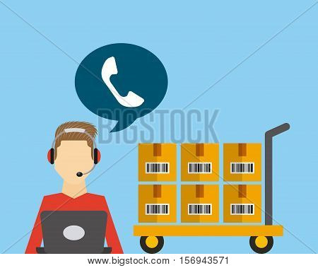 logistics support worker with speech bubble icon and handcart with boxes. export and import colorful design. vector illustration