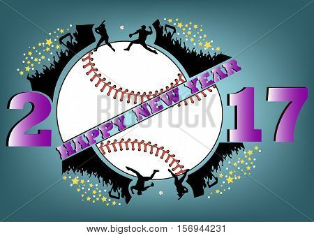 happy new year 2017 and baseball with baseball fans. Baseball player hits the ball with the filing. Vector illustration