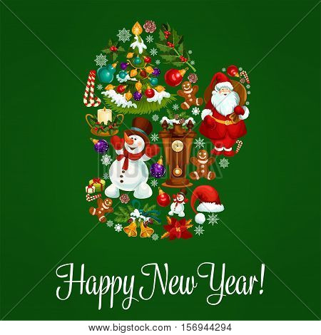 Happy New Year vector poster, greeting card with symbol of winter christmas mitten combined christmas tree ornaments, santa with gifts bag, snowman, gingerbread man, holly wreath, poinsettia star flower, snowflake, candy cane, fir cone, chime clock